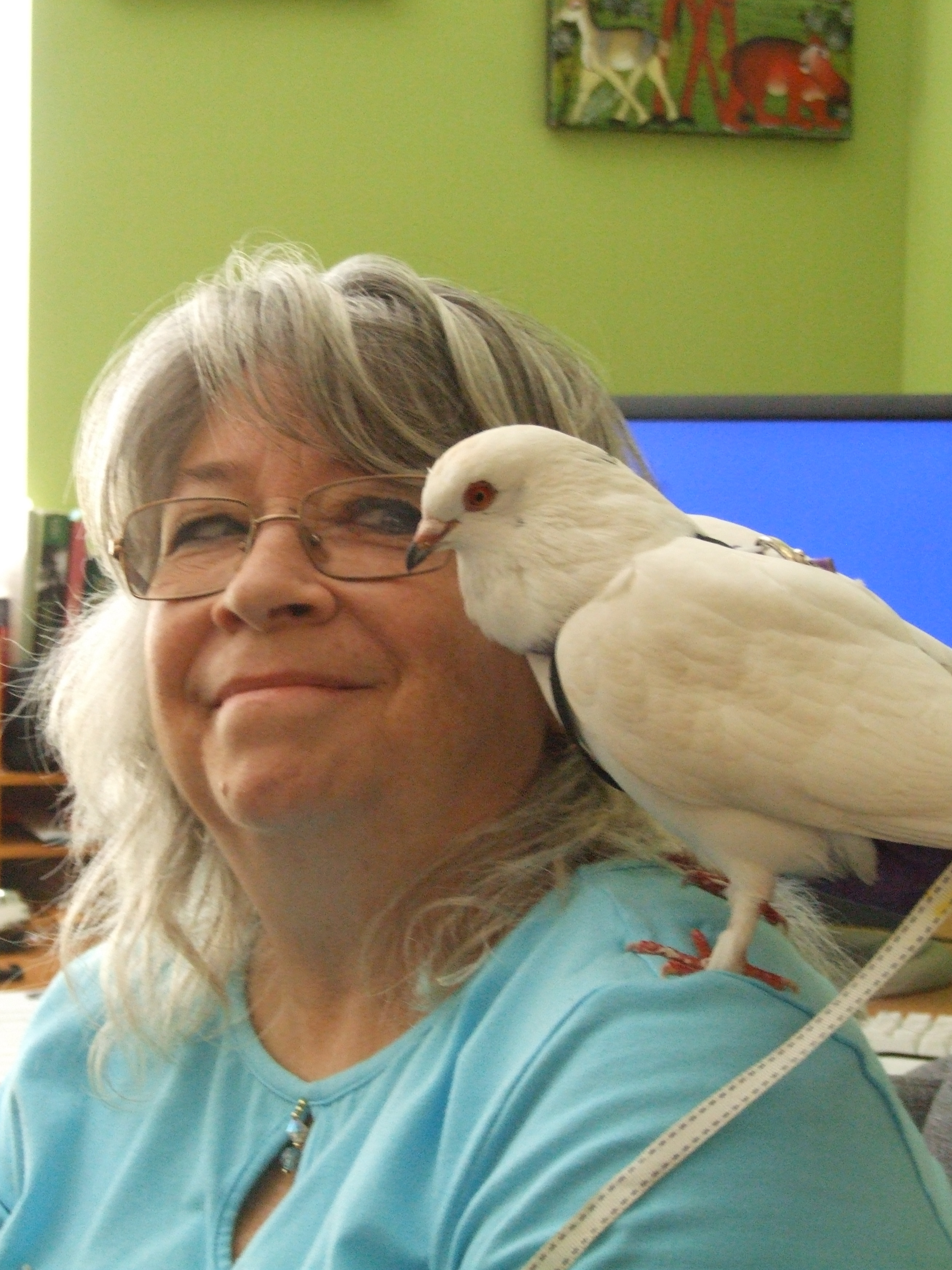 Susan with her adopted pet homer Little Cloud