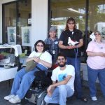 Volunteers and pigeons at EB SPCA event