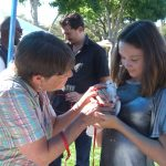 Volunteer introducing young woman to rescued pigeon