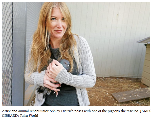 Ashley Dietrich with rescued pigeon by James Gibbard