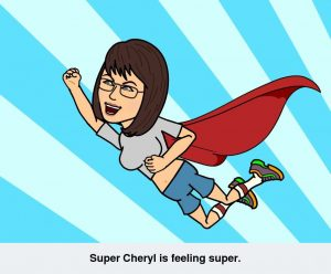 Super Cheryl (flying with cape)