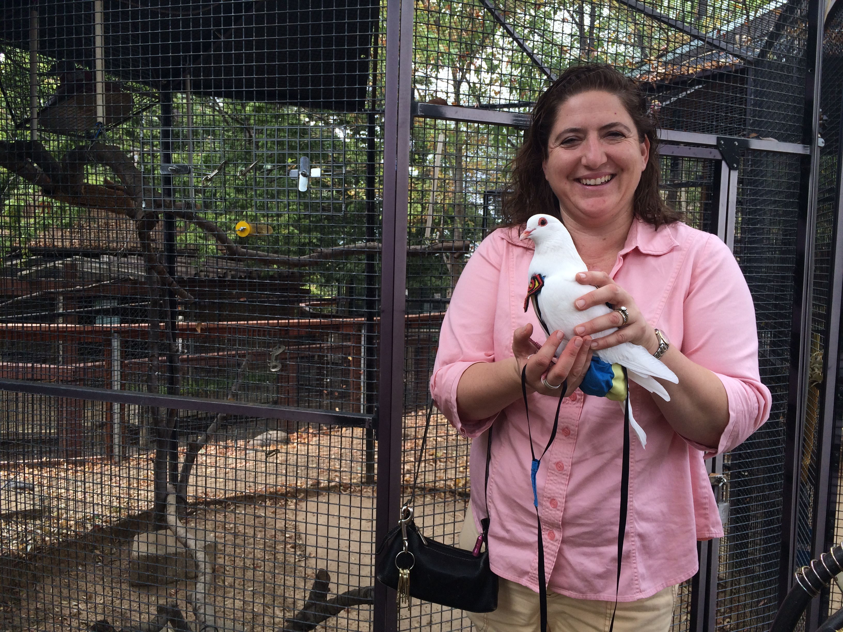 Manager Jocelyn Smeltzer in front of a potential foster aviary for Palomacy pigeons!