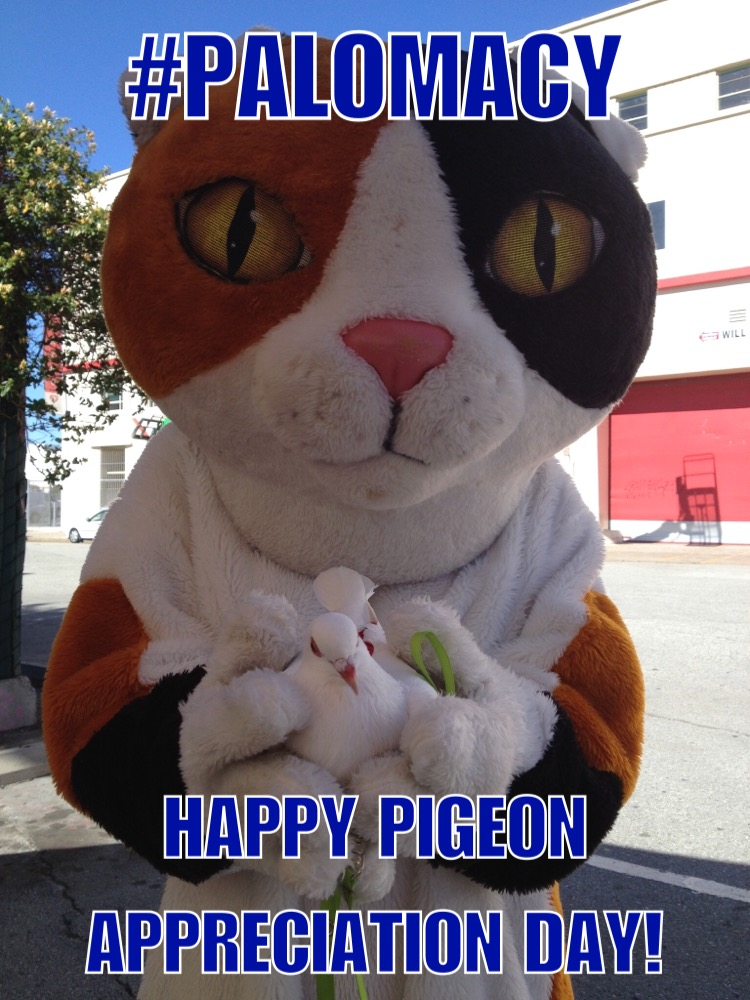 Opal Says Nice Kitty! Happy Pigeon Appreciation Day